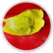 Yellow Leaves Round Beach Towel