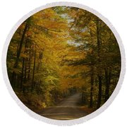 Yellow Leaves Road Round Beach Towel