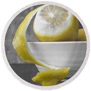 Yellow Lemons Round Beach Towel