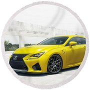 Yellow Lexus4 Round Beach Towel