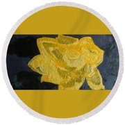 Yellow Lilac On The Pond Round Beach Towel