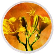 Yellow Lilies Round Beach Towel