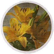Yellow Lilies With Old Canvas Texture Background Round Beach Towel