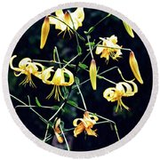 Yellow Lilies In Fort Tryon Park Round Beach Towel