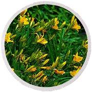 Yellow Lily Flowers Round Beach Towel