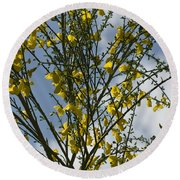 Yellow Little Flowers Round Beach Towel