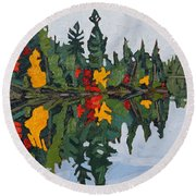 Yellow Maples Round Beach Towel