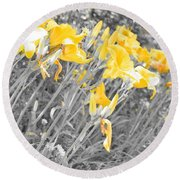 Yellow Moment In Time Round Beach Towel