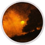 Yellow Moon Round Beach Towel