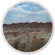 Yellow Mounds Panorama At Badlands South Dakota Round Beach Towel