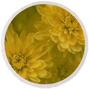 Yellow Mums Round Beach Towel