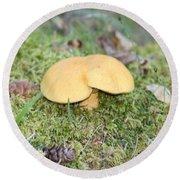 Yellow Mushroom Round Beach Towel