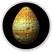 Yellow Nubbled Egg Round Beach Towel