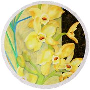 Yellow Orchids With Black Screen Round Beach Towel