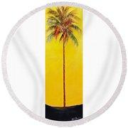 Yellow Palm Round Beach Towel