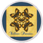 Yellow Pansy Butterfly Wheel Round Beach Towel
