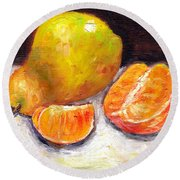 Yellow Pear With Tangerine Slices Grace Venditti Montreal Art Round Beach Towel