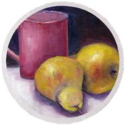 Yellow Pears And Mug Stll Life Grace Venditti  Round Beach Towel
