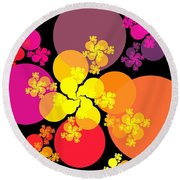 Yellow Pink Red Orbs Round Beach Towel
