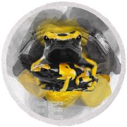 Yellow Poison Dart Frog No 04 Round Beach Towel