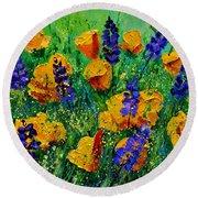 Yellow Poppies 560190 Round Beach Towel