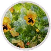 Yellow Pretty Little Flowers Round Beach Towel