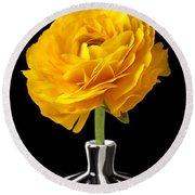 Yellow Ranunculus In Striped Vase Round Beach Towel