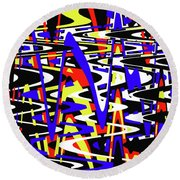 Yellow Red Blue Black And White Abstract Round Beach Towel