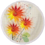 Yellow Red Floral Illustration Round Beach Towel