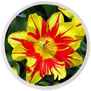 Yellow Red Flower Round Beach Towel