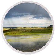 Yellow Reflection Round Beach Towel