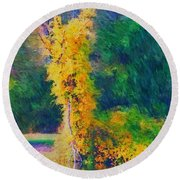 Yellow Reflections Round Beach Towel