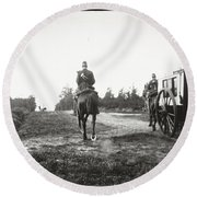 Yellow Riders On Horseback Near Arnhem Round Beach Towel