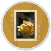 Yellow Rose Bud Dreams With Design Round Beach Towel