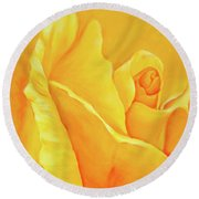 Yellow Rose Detail Round Beach Towel