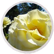 Yellow Rose Garden Landscape 3 Roses Art Prints Baslee Troutman Round Beach Towel
