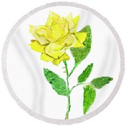 Yellow Rose, Painting Round Beach Towel