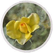 Yellow Rose With Old Marbel Texture Background Round Beach Towel