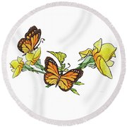 Yellow Roses And Monarch Butterflies Round Beach Towel