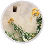 Yellow Roses And Tiny Window At Carmel Mission Round Beach Towel