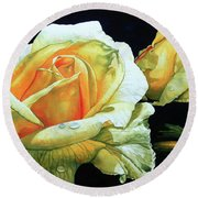 Yellow Roses Round Beach Towel