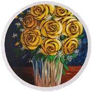 Yellow Roses Round Beach Towel