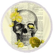 Skull With Yellow Roses Dictionary Art Print Round Beach Towel
