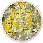 Yellow Sadness Round Beach Towel