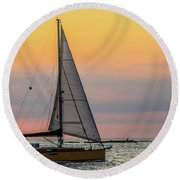Yellow Sailboat At Sunrise Round Beach Towel