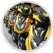 Yellow Scooters Round Beach Towel