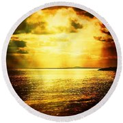 Yellow Sea Round Beach Towel