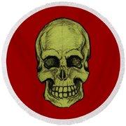 Yellow Skull Round Beach Towel