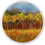 Yellow Stand Of Trees Round Beach Towel