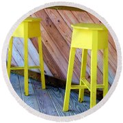 Yellow Stools Round Beach Towel